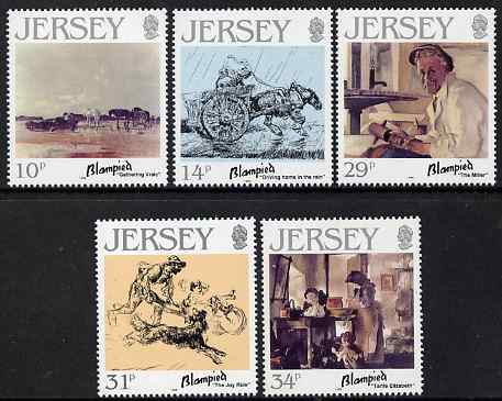 Jersey 1986 Birth Cent of Edmund Blampied (artist) set of 5 unmounted mint, SG 397-401