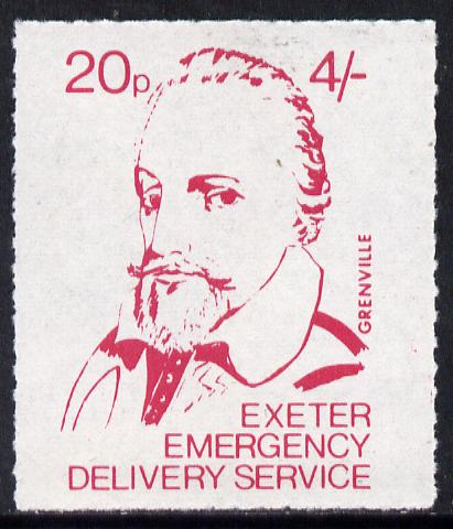 Great Britain 1971 Exeter Emergency Delivery Service 20p-4s label depicting Grenville unmounted mint