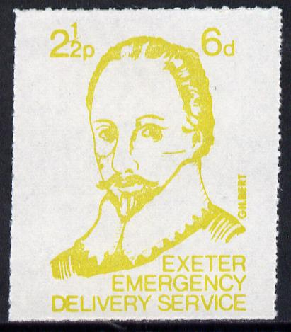 Great Britain 1971 Exeter Emergency Delivery Service 2.5p-6d label depicting Gilbert unmounted mint