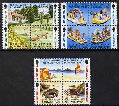 Jersey 1993 Booklet Stamps - NVI stamps in 3 x se-tenant blocks of 4 (12 values) unmounted mint, SG 601-12