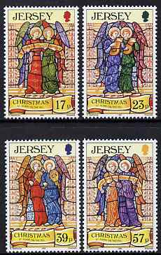 Jersey 1993 Christmas - Stained Glass Windows from St Aubin on the Hill Church set of 4 unmounted mint, SG 640-43
