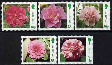 Jersey 1995 Camelias set of 5 unmounted mint, SG 693-97