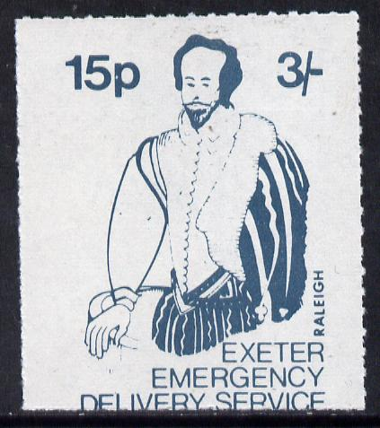 Great Britain 1971 Exeter Emergency Delivery Service 15p-3s label depicting Raleigh unmounted mint