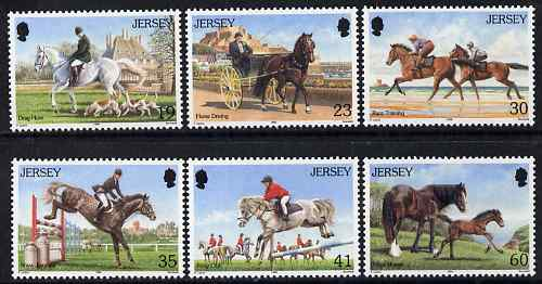 Jersey 1996 Horses set of 6 unmounted mint, SG 758-63