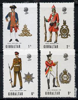 Gibraltar 1969 Military Uniforms #1 set of 4 unmounted mint, SG 240-43*