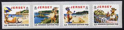 Jersey 1999 Tourism - 'Lillie the Cow' se-tenant strip of 4 self-adhesive NVI stamps with copyright symbol after date, unmounted mint SG 770a-73a