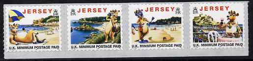 Jersey 1997 Tourism - 'Lillie the Cow' se-tenant strip of 4 self-adhesive NVI stamps without copyright symbol after date, unmounted mint SG 770-73