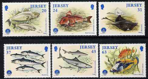 Jersey 1998 International Year of the Ocean - Fishes set of 6, unmounted mint SG 864-69