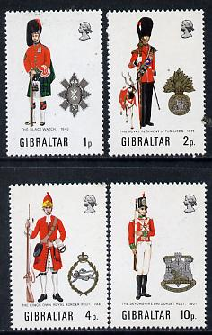Gibraltar 1971 Military Uniforms #3 set of 4 unmounted mint, SG 290-93, stamps on militaria, stamps on uniforms