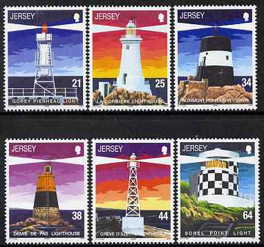 Jersey 1999 Lighthouses - 1st series set of 6 unmounted mint, SG 917-22, stamps on lighthouses