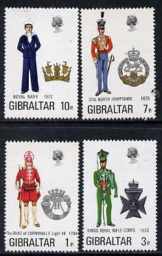 Gibraltar 1972 Military Uniforms #4 set of 4 unmounted mint, SG 300-303