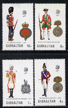 Gibraltar 1973 Military Uniforms #5 set of 4 unmounted mint, SG 313-16, stamps on militaria, stamps on uniforms