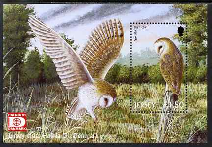 Jersey 2001 Birds of Prey perf m/sheet for 'Hafnia 01' Stamp Exhibition unmounted mint, SG MS1013