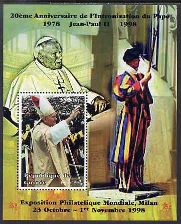 Guinea - Conakry 1998 Pope John Paul II - 20th Anniversary of Pontificate perf s/sheet #08 unmounted mint. Note this item is privately produced and is offered purely on its thematic appeal - please note: due to the method of perforating, a tiny guide hole appears in the top of this s/sheet