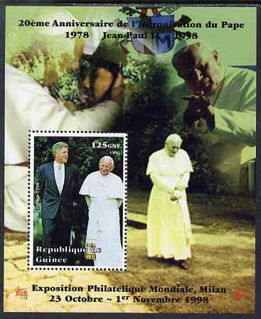 Guinea - Conakry 1998 Pope John Paul II - 20th Anniversary of Pontificate perf s/sheet #12 unmounted mint. Note this item is privately produced and is offered purely on its thematic appeal - please note: due to the method of perforating, a tiny guide hole appears in the top of this s/sheet