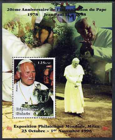 Guinea - Conakry 1998 Pope John Paul II - 20th Anniversary of Pontificate perf s/sheet #16 unmounted mint. Note this item is privately produced and is offered purely on its thematic appeal - please note: due to the method of perforating, a tiny guide hole appears in the top of this s/sheet