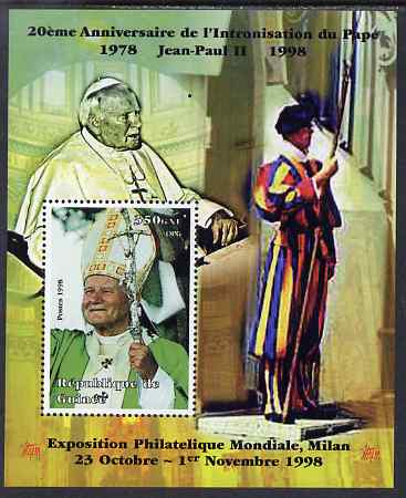 Guinea - Conakry 1998 Pope John Paul II - 20th Anniversary of Pontificate perf s/sheet #18 unmounted mint. Note this item is privately produced and is offered purely on its thematic appeal - please note: due to the method of perforating, a tiny guide hole appears in the top of this s/sheet