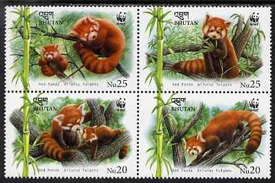Bhutan 2009 WWF - Red Panda perf set of 4 in se-tenant block unmounted mint