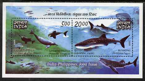 India & Philippines 2009 Joint Issue - Whales & Dolphins perf m/sheet containing 2 values unmounted mint