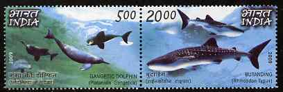 India & Philippines 2009 Joint Issue - Whales & Dolphins perf set of 2 values (se-tenant pair) unmounted mint