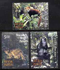 India 2009 Animals perf set of 3 unmounted mint