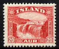 Iceland 1931 Guillfoss Falls 20a scarlet unmounted mint, SG 196
