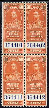 Canada 1930 Revenue KG5 60c Electricity & Gas Inspection block of 4 unmounted mint