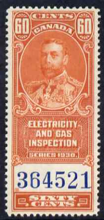 Canada 1930 Revenue KG5 60c Electricity & Gas Inspection unmounted mint
