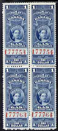 Canada 1897 Revenue QV $1 Gas Inspection block of 4 unmounted mint