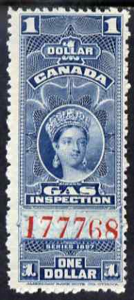 Canada 1897 Revenue QV $1 Gas Inspection unmounted mint