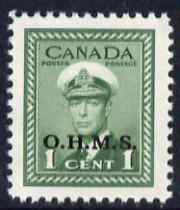 Canada 1949 KG6 Official 1c green opt'd OHMS unmounted mint SG O162
