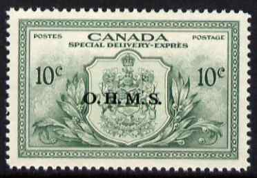 Canada 1950 KG6 Official 10c Special Delivery opt'd OHMS lightly mounted mint SG OS20