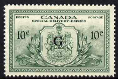 Canada 1950 KG6 Official 10c Special Delivery opt'd G unmounted mint SG OS21