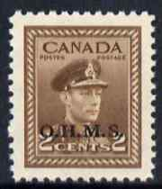 Canada 1949 KG6 Official 2c brown opt'd OHMS unmounted mint SG O163