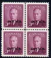 Canada 1949-50 KG6 Official 3c purple opt'd OHMS block of 4 unmounted mint SG O174