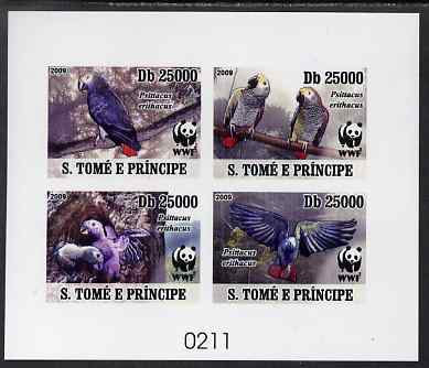 St Thomas & Prince Islands 2009 WWF - Parrots imperf de-luxe sheetlet containing 4 values on thin card