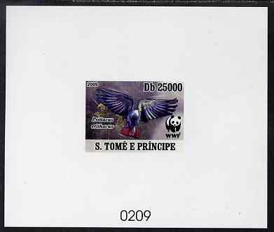 St Thomas & Prince Islands 2009 WWF - Parrots #1 imperf de-luxe sheet on thin card