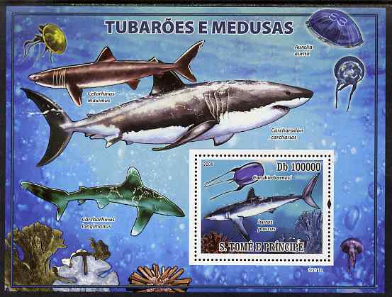 St Thomas & Prince Islands 2009 Sharks & Jelly Fish perf s/sheet unmounted mint