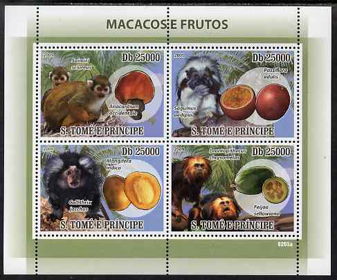 St Thomas & Prince Islands 2009 Macaque Monkeys & Fruit perf sheetlet containing 4 values unmounted mint