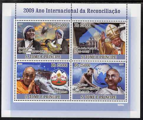 St Thomas & Prince Islands 2009 International Reconciliation Year perf sheetlet containing 4 values (Mother Teresa,Pope,Dalai Lama & Gandhi) unmounted mint