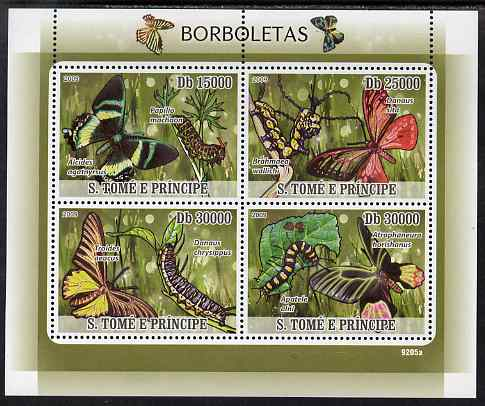 St Thomas & Prince Islands 2009 Butterflies & Catterpillars perf sheetlet containing 4 values unmounted mint