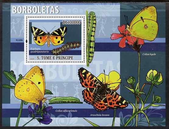 St Thomas & Prince Islands 2009 Butterflies & Catterpillars perf s/sheet unmounted mint
