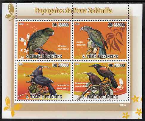 St Thomas & Prince Islands 2009 Parrots of New Zealand perf sheetlet containing 4 values unmounted mint