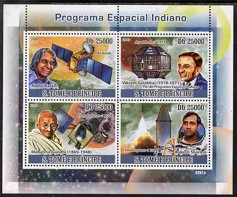 St Thomas & Prince Islands 2009 Indian Space Programme perf sheetlet containing 4 values (also shows Gandhi) unmounted mint