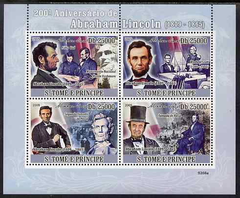 St Thomas & Prince Islands 2009 Abraham Lincoln perf sheetlet containing 4 values unmounted mint
