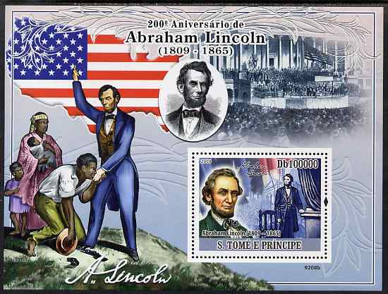 St Thomas & Prince Islands 2009 Abraham Lincoln perf s/sheet unmounted mint