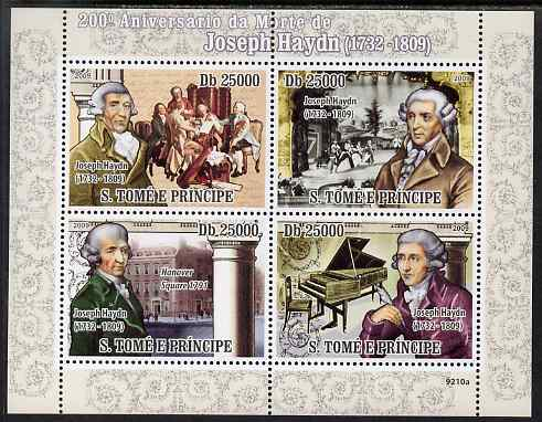 St Thomas & Prince Islands 2009 Joseph Haydn perf sheetlet containing 4 values unmounted mint