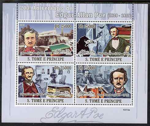 St Thomas & Prince Islands 2009 200th Birth Anniversary of Edgar Allan Poe perf sheetlet containing 4 values unmounted mint