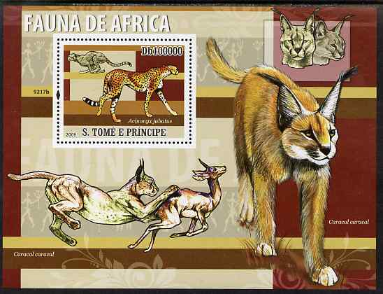 St Thomas & Prince Islands 2009 Animals of Africa - Cheetahs perf s/sheet unmounted mint