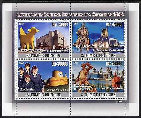 St Thomas & Prince Islands 2009 Liverpool - Capital of European Culture perf sheetlet containing 4 values unmounted mint